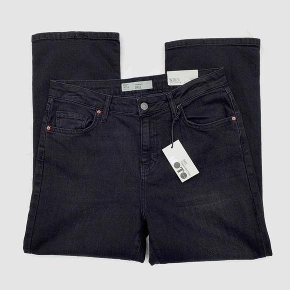 Topshop Denim - Topshop Dree Cropped Kick Flare Jeans Black 30